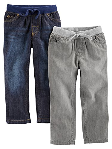 Simple Joys by Carter's Baby Boys' Toddler 2-Pack Pull on Denim Pant, Gray Denim, Blue Denim, 3T ()