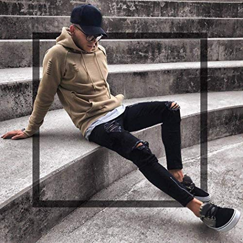 Streetwear Moto Slim Skinny Nero Uomo Pantaloni Estivi Giovane Stretch Fit Da Distrutti Jeans PTRqww
