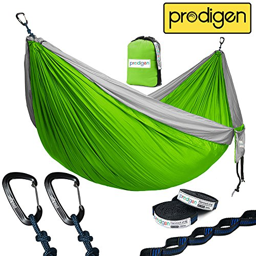 Prodigen Double Parachute Camping Hammock-Outdoor Portable Compact Backpacking Hammock for Hiking,Travel,Beach,Backyard-Best Two Person Lightweight Nylon Hammocks with Straps (Ranger Green/Yellow)