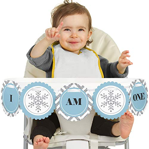 Big Dot of Happiness Onederland 1st Birthday - I Am One - First Winter Wonderland Birthday High Chair Banner