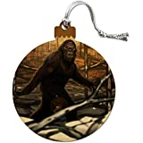 Bigfoot Sasquatch Walking in the Woods Wood Christmas Tree Holiday Ornament