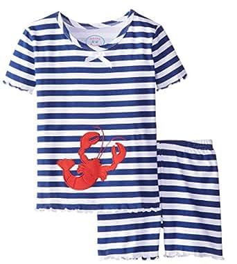 Sara's Prints Big Girls' Fitted Short Pj's, Nautical Stripe Lobster Applique, 14