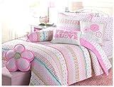 Cozy Line Home Fashions 6-Piece Quilt Bedding Set, Pink Green Pastel Polka Dot Flower 100% Cotton Bedspread Coverlet (Full/Queen- 6 Piece: 1 Quilt + 2 Standard Shams + 3 Decorative Pillows)