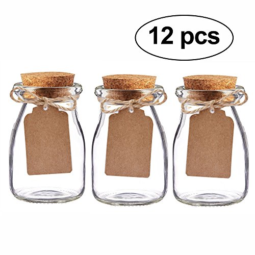 Milk Glass Top Baby (Awtlife 12pcs Vintage Glass Favor Jars With Cork Lids for wedding favor 3.4 oz each jars)