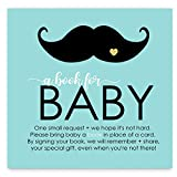 Mustache Bring a Book for Baby Invitation Insert Mint and Gold Baby Shower (25 Pack)