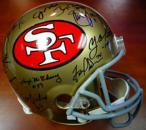 SAN FRANCISCO 49ERS TEAM GREATS AUTOGRAPHED FULL SIZE HELMET WITH 19 SIGNATURES INCLUDING JOE MONTANA, JERRY RICE & STEVE YOUNG PSA/DNA STOCK #89877