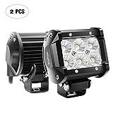 Nilight LED Light Bar 2pcs 18W 10,2cm Flood conducción Fog Light Off Road luces Barco Luces de Conducción Luces de LED luz de trabajo SUV Jeep lámpara, garantía de 2años