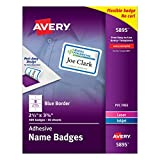 "Avery White Adhesive Name Badges with  Blue Border, 2-1/3"" x 3-3/8"", Box of 400 (5895)"
