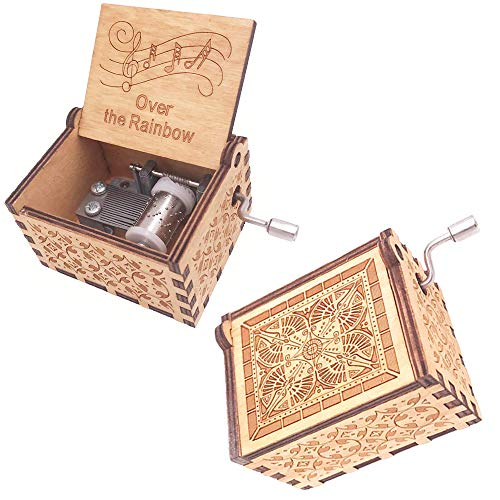 Rainbow Gift Box - FnLy 18 Notes Wooden Engraved Somewhere Over The Rainbow Music Box,Antique Carved Hand Crank Small Musical Box Gift,Brown