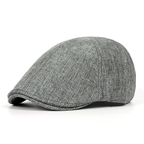 Pigment Dyed Newsboy Cap - Newsboy Caps Breathable Linen Summer Hats Sun Visor Hat Ivy Irish Gatsby Cap - Dark Grey