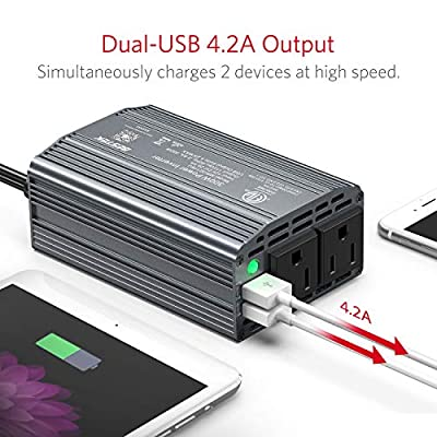 BESTEK 300W Power Inverter DC 12V to 110V AC Car Inverter with 4.2A Dual USB Car Adapter (Gray): Electronics