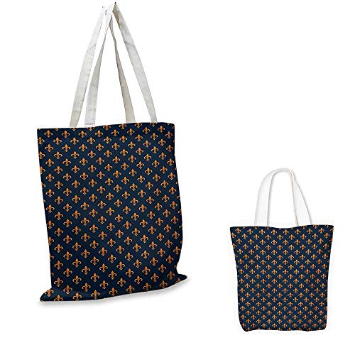 """Fleur De Lis,New Summer Casual Tote Floral Pattern with Pointed Buds and Curved Leaves Ancient Western Motifs Shoulder Shopping Beach Bags Indigo Orange 16.5""""x14""""x6"""""""