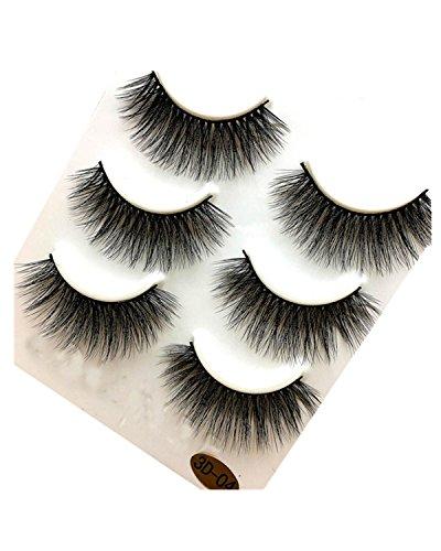 Mink Fur - Sunward 2017 Fashion 3 Pairs 3D Mink Fur Fake Eyelashes Natural Black Hand-Made False Lashes (Black D)