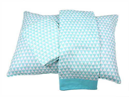 Bacati Aztec/Tribal Triangles 3 Piece Cotton Breathable Muslin Toddler Bedding Sheet Set, Aqua/Navy, Small by Bacati