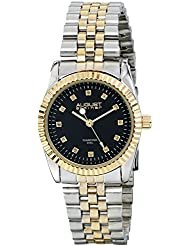 August Steiner Womens AS8046TTG Diamond Accented Black Dial Silver & Yellow Gold Bracelet Watch