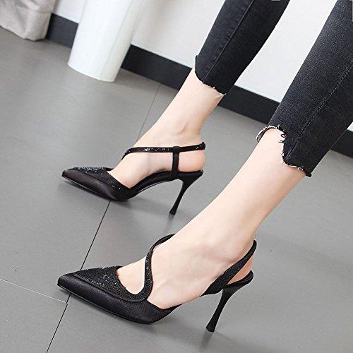 Xue Qiqi Sandalias de tacón alto de mujeres salvajes con la punta fina de la encantadora chica zapatos marea Negro