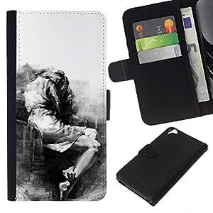 A-type (Sad Crying Depression Somber Heartbreak) Colorida Impresión Funda Cuero Monedero Caja Bolsa Cubierta Caja Piel Card Slots Para HTC Desire 820