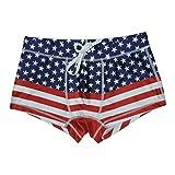 5th Industry 20+ Styles - Mens Swim Brief Square Leg Swimsuit - American Flag - Medium