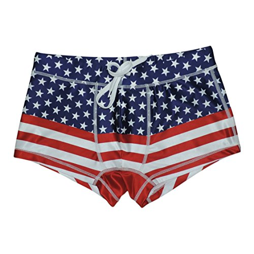 5th Industry 20+ Styles - Mens Swim Brief Square Leg Swimsuit - American Flag - X-Large by 5th Industry
