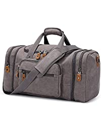 Canvas Duffle Bag for Travel, 60L Duffel Overnight Weekend Bag(Gray)