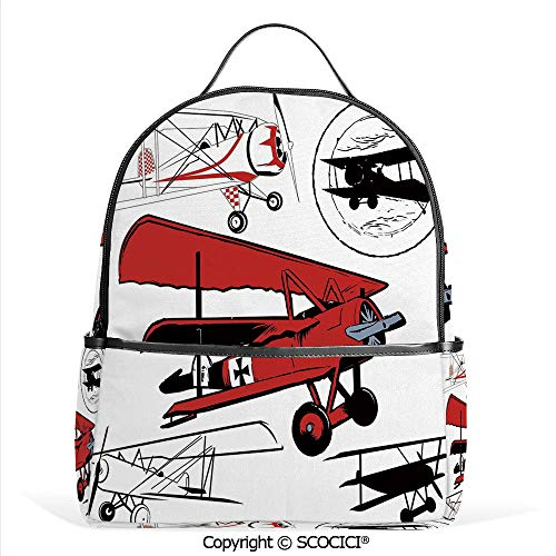 (Lightweight Chic Bookbag Collection of Various Biplanes Nostalgic Antique Silhouettes,Red White Black,Satchel Travel Bag Daypack )