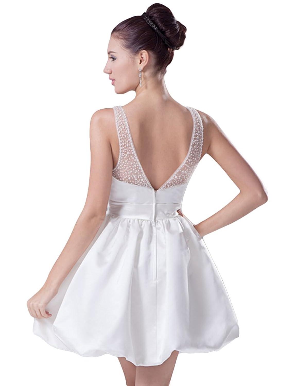 Ikerenwedding Women's A-Line Double V-Neck V-Back Beaded Straps Empire Zipper Above Knee Wedding Dress