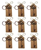 Wedding Favors for Guests Key Chain Key Ring Rustic Vintage Skeleton Key Bottle Openers Party Favors Party Decoration with Escort Card Tag and Twine (Bronz-10 KY)