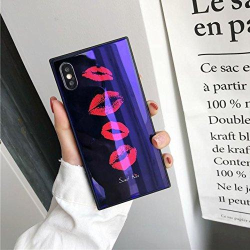 iPhone XR スクエア型 強化ガラスケース TPUフレーム KISS リップケース (iPhone XR, パープル)