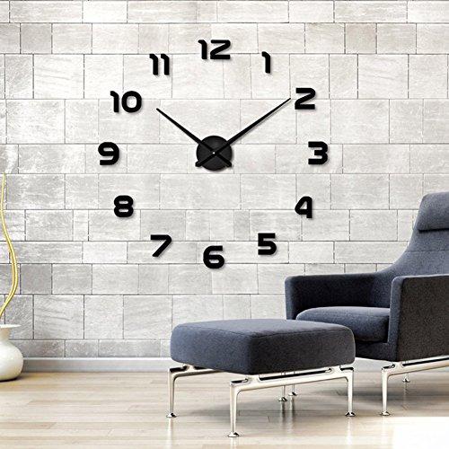 Reloj de pared adhesivo acrílico con efecto espejo, calcomanía 3D, para decoración del hogar y la oficina, negro...