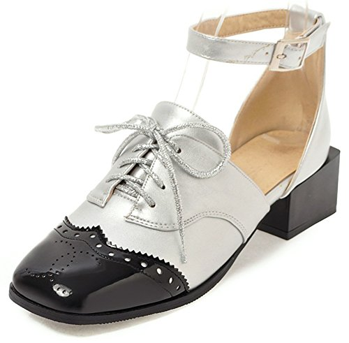 1446f860d IDIFU Womens Trendy Buckle Strap Square Toe Chunky Mid Heeled Color Block  Pumps Silver x4rsjVYgk