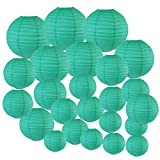 Just Artifacts Decorative Round Chinese Paper Lanterns 24pcs Assorted Sizes (Color: Teal Blue Green)