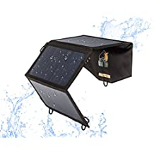 Ryno Tuff Dual USB 21W Foldable Solar Charger - Portable and Waterproof Built For Outdoors Highest Converting Solar Panels (22%-25%) Works For All 5V Devices iPhone/iPad/Galaxy/Note/Tab/Nexus and More