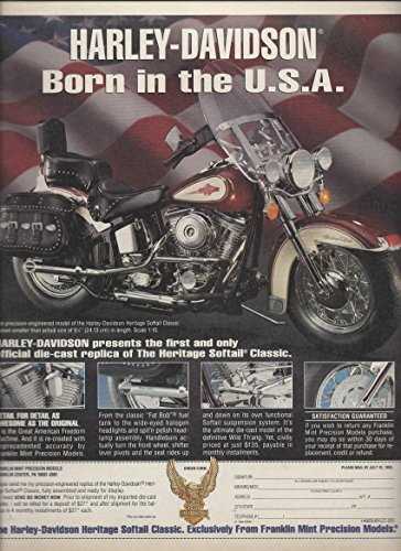 Franklin Mint Motorcycles (MAGAZINE AD For 1993 Franklin Mint's Harley Davidson Motorcycle Replica)