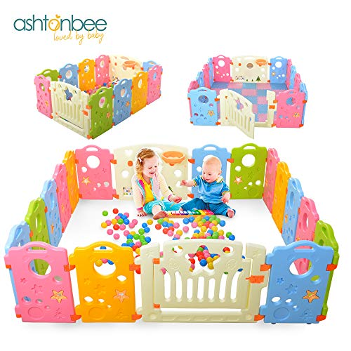 Playpen Activity Center for Babies and Kids - Multicolor 16-Panel Set Play Yard from Ashtonbee
