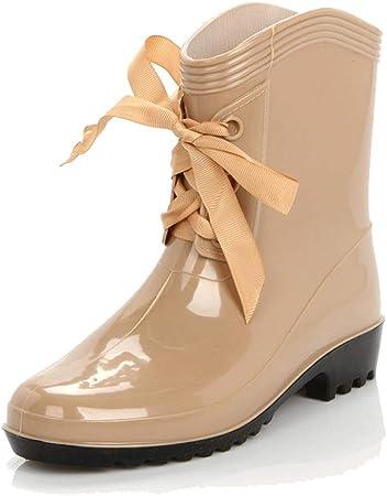 WXYPP hasta la Mujer Encaje Lluvia Botas de Agua Botas de Lluvia del jardín Zapatos Antideslizante Resistente al Desgaste Sole (Color : Apricot, Size : 35): Amazon.es: Hogar