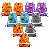 Halloween-Bags-Drawstring-Backpack-Candy-Bags Halloween Treat Goodie Bags Halloween Party Favors Supplies Bag for Kids 10 Pack