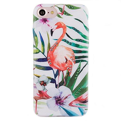 iPhone 8 / 7 Case, Arktis Luxus Hardcase mit Swarowski Steinen Flamingo Glitter
