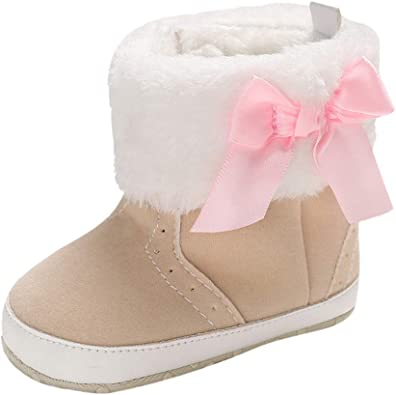 XUANOU Baby Girl Soft Booties Bow Pure Color High Gang Snow Boots Toddler Warm Shoes
