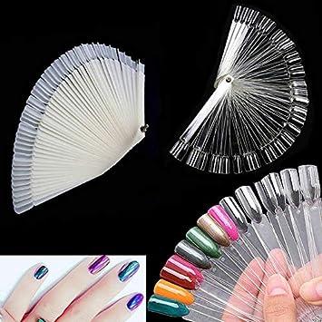 Mayyou 50pcs uñas Art Tips Ventilador Natural Falso Herramientas Pantalla Tablero Polaco manicura Ventiladores Forma Gel: Amazon.es: Hogar