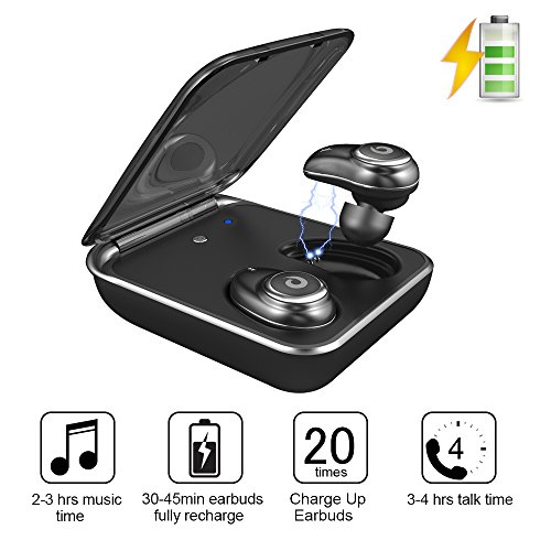 Wireless Earbuds,GUSGU TWS In-Ear Earbuds Touch Control IPX7 Waterproof Bluetooth Headphones with Chargering Case & Noise Canceling Mic for iPhone X/8/7SamsungGalaxy S9/S8 /S8Plus(Support iOS&Android)