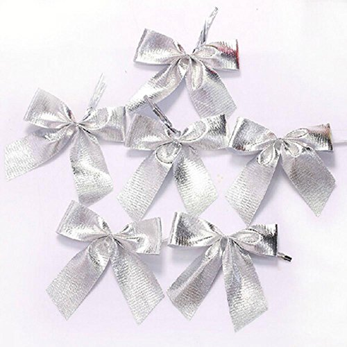 (ORYOUGO 24pcs Christmas Tree Bowknot,Mini 6cm Christmas Charms Decoration Ornaments Ribbon Bows,Tree Bow Bowknot Party Gift DIY Decor Xmas Tree,Silver)
