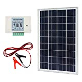 12 volt solar panel and fan - ECO-WORTHY 20W 12V IP65 Solar Panel Kit: 20W Off Grid Polycrystalline Solar Panel & Aluminum Battery Clips & 3A Charge Controller