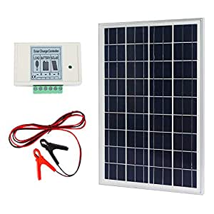 ECO-WORTHY 20W 12V IP65 Solar Panel Kit: 20W Off Grid Polycrystalline Solar Panel & Aluminum Battery Clips & 3A Charge Controller