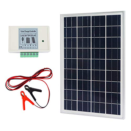 24v Solar Charger (ECO-WORTHY 20W 12V IP65 Solar Panel Kit: 20W Off Grid Polycrystalline Solar Panel & Aluminum Battery Clips & 3A Charge Controller)