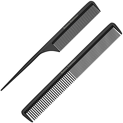 "Professional Styling Comb (Styling Comb and Tail Comb Combo Pack - Professional 8.75"" Black Carbon Fiber, Anti Static Chemical And Heat Resistant Combs For All Hair Types - By Bardeau Essentials (Comb & Tail Comb))"