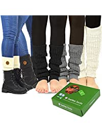 TeeHee Women's Fashion Leg Warmers and Boot Toppers 5- Pack with Gift Box Set
