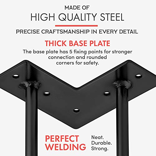 Heavy Duty Metal Coffee Table Legs with Screws and Hairpin Leg Protector Included - 4 Piece Set - Pre-Drilled Holes for Easy Installation - Add Mid Century Modern Flair to Your Home (20'') by INTERESTHING home (Image #3)