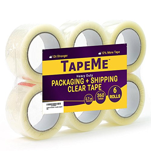 Box Sealing Tape - TapeMe Clear Packing Tape - 60 Yards Per Roll (Pack of 6 ) - 2.7mil, Heavy Duty Sealing Adhesive Industrial Tapes for Shipping, Packaging, Moving, Office, Storage, Etc.