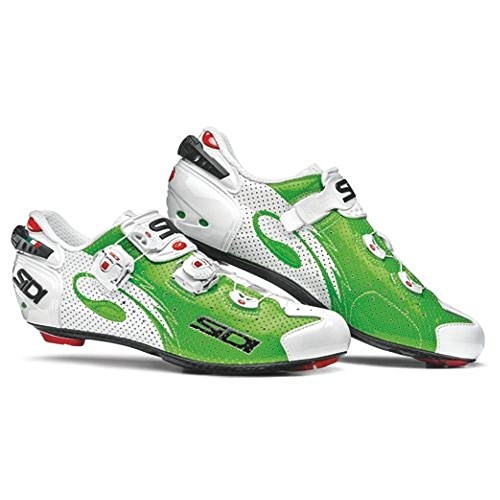 Sidi Wire Carbon Air Vernice Road Shoes,Green Fluo/White (40.5)