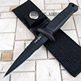 New 6. 5'' Double Edge BLACK Military Combat Fixed Blade Boot EcoGift Nice Knife with Sharp Blade Throwing Dagger- Great For Fun And Practical Use